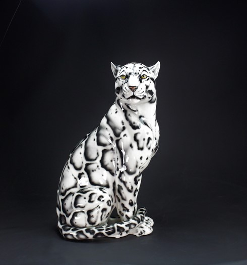 Leopardo nebuloso black white bocca chiusa cm 88