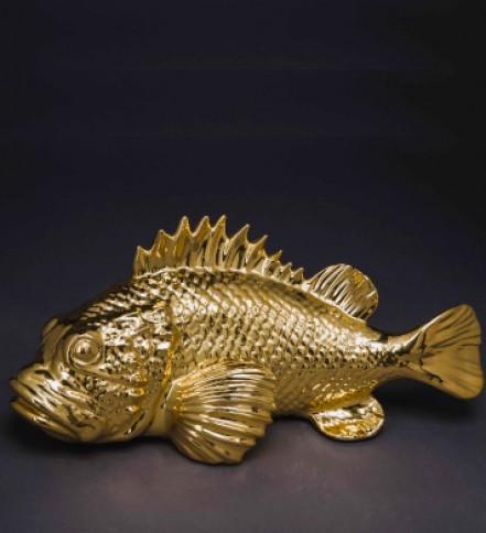 Ceramic Scorphaenus(Rock Fish) 42x20 cm.(golden)