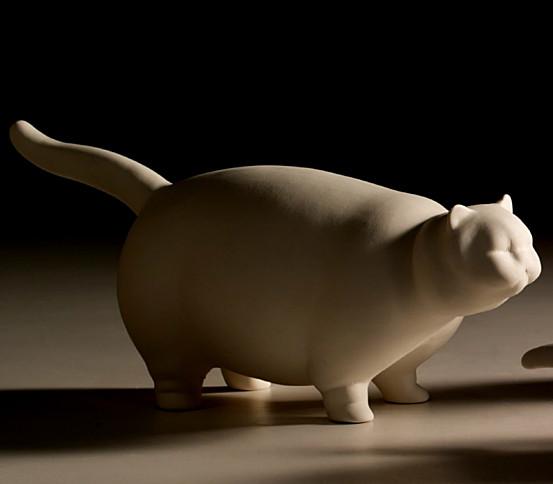 White stylized cat
