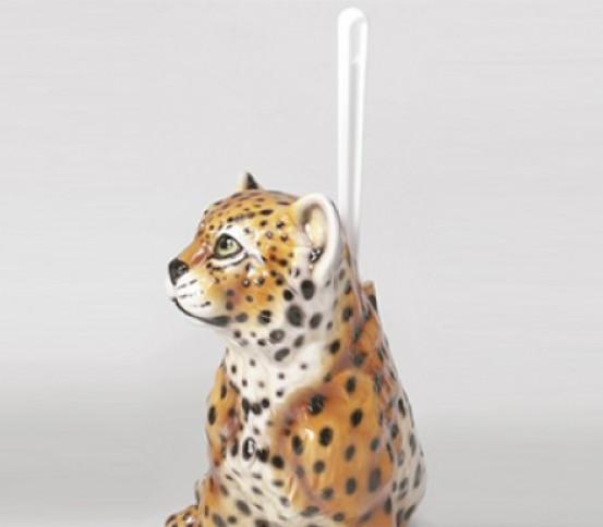 WC brush holder Leopard