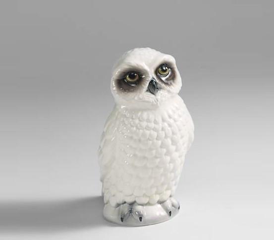 WC brush holder white Owl